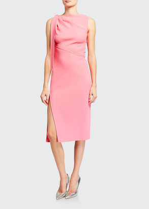 Oscar de la Renta Sleeveless Bateau-Neck Dress with Side Tie
