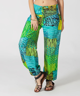 Aller Simplement Green & Blue Animal Print Harem Pants