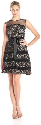 Betsy & Adam Women's Lace Fit and Flare Party Dress with Belt