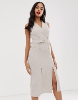 Asos Design DESIGN sleeveless tux midi dress with belt