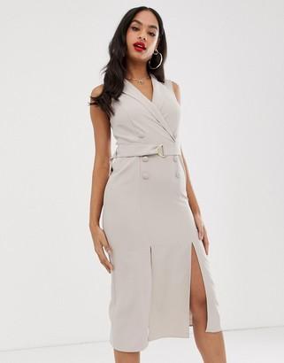 Asos Design DESIGN sleeveless tux midi dress with belt-Beige