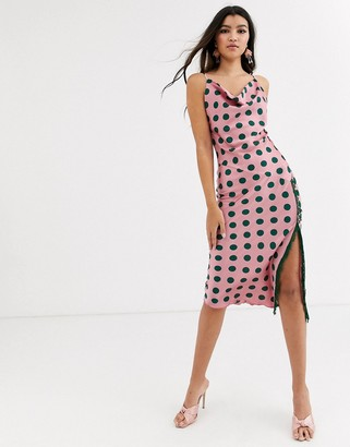 Outrageous Fortune cowl front satin midaxi dress in polka print