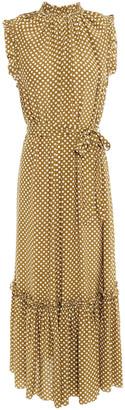 Zimmermann Ruffle-trimmed Polka-dot Silk Crepe De Chine Midi Dress