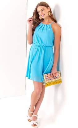 francesca's Flawless Solid Dress in Blue - Oxford Blue