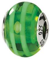 Murano Prerogatives Sterling Green Striped Italian Glass Bead