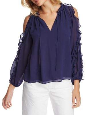 1 STATE 1.State Ruffled Cold-Shoulder Blouse