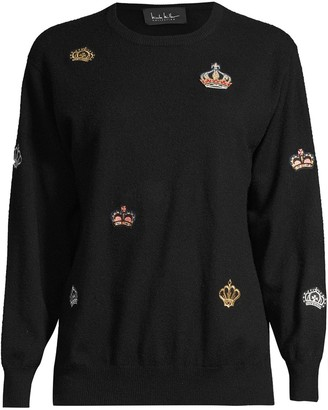 Nicole Miller Crown-Patch Crew-Neck Jumper