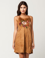 Blu Pepper Embroidered Suede Dress