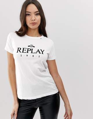Replay ripped 1981 logo t-shirt-White
