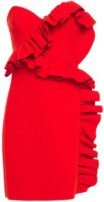 MSGM Strapless Ruffled Crepe Mini Dress