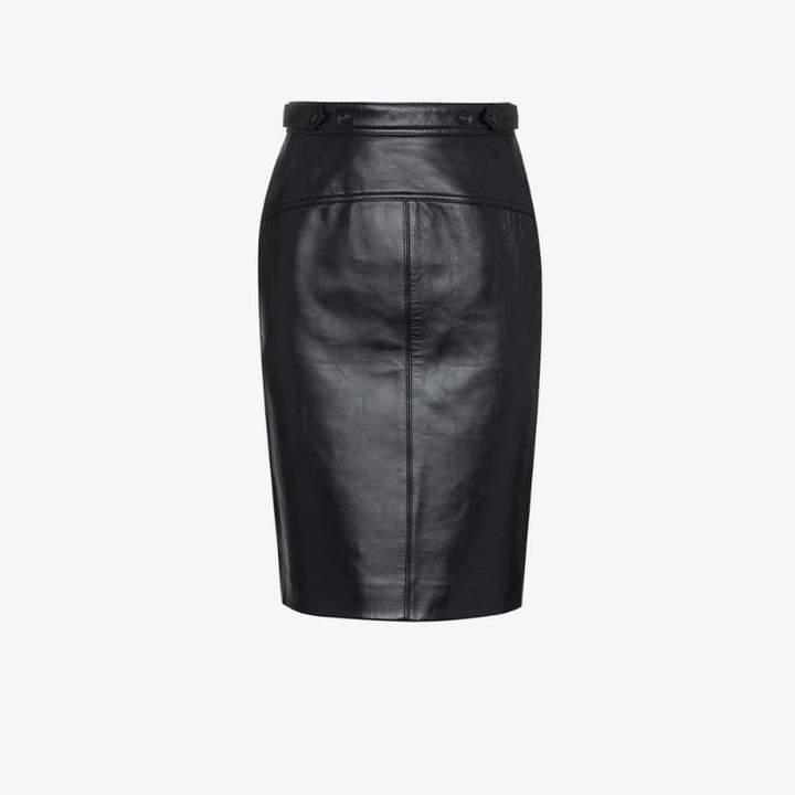 b6150fcbc8 Full Length Black Leather Skirt - ShopStyle UK