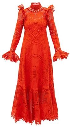 Zimmermann Brightside Palm Openwork-lace Silk-organza Dress - Orange