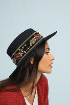 Anthropologie Beaded Boater Hat