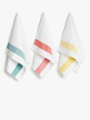 John Lewis & Partners Waffle Border Tea Towels, Pack of 3, Assorted