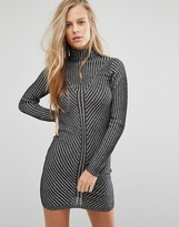 Miss Selfridge Metallic Rib Long Sleeve Mini Dress