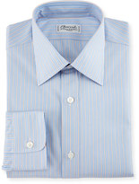 Charvet Striped Cotton Dress Shirt, Blue/Orange
