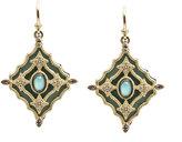 Armenta 18k Green Glass Mosaic Scroll Drop Earrings w/ Diamonds, Sapphires & Turquoise
