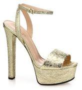 Gucci Leila Metallic Leather Platform Sandals