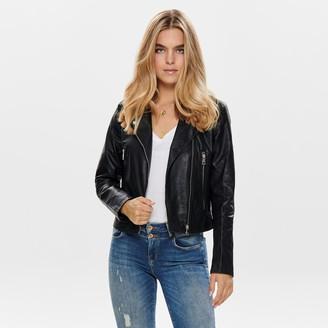 Jacqueline De Yong Short Zip-Up Jacket in Faux Leather