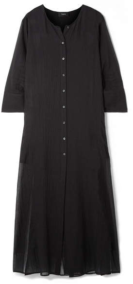 Theory Weekend Cotton-gauze Maxi Dress - Black