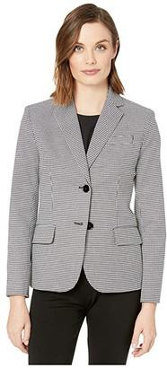 Lauren Ralph Lauren Houndstooth Twill Blazer (Black/Silk White) Women's Clothing