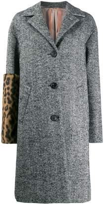 No.21 leopard print panel coat