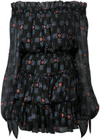 Caroline Constas off-shoulder sheer dress - women - Silk/Polyester - XS