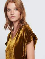 Velvet top with ruffled sleeves