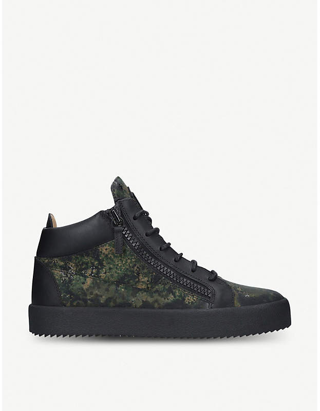 Giuseppe Zanotti Kriss camouflage-print canvas and leather high-top trainers