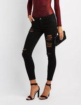 Charlotte Russe Fishnet-Inset Destroyed Skinny Jeans