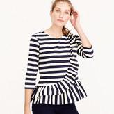 J.Crew Asymetrical striped ruffle top