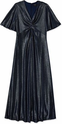 Tahari ASL Women's Petite Elbow Sleeve V-Neck Knot Front Gown