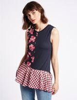 Marks and Spencer Floral Print Asymmetric Sleeveless Tunic