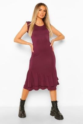 boohoo Ruffle Drop Hem Midi Dress