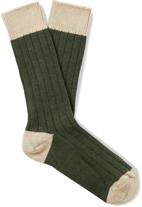 The Workers Club Ribbed Space-Dyed Merino Wool-Blend Socks