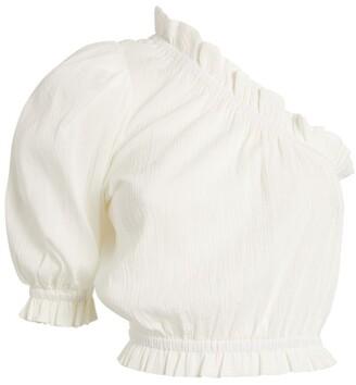 Peony Swimwear One-Shoulder Ruffled Crop Top