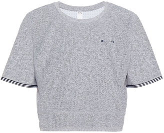 The Upside Whitney Cropped Perforated Melange Printed Stretch T-shirt