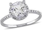 Ice Sofia B 1 2/3 CT White Sapphire and Diamond 10K White Gold Round Halo Engagement Ring