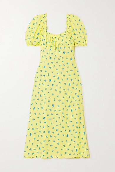 Faithfull The Brand Net Sustain Bette Shirred Floral-print Crepe Midi Dress