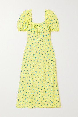 Faithfull The Brand Bette Shirred Floral-print Crepe Midi Dress - Yellow
