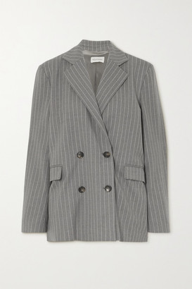 LOULOU STUDIO Ficaja Double-breasted Pinstriped Stretch-wool Blazer - Gray