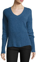 Derek Lam 10 Crosby Melange Cashmere V-Neck Sweater, Blue