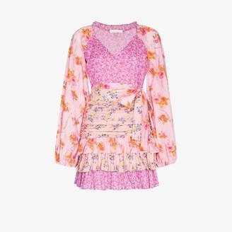 LoveShackFancy Rina Floral Print Mini Dress