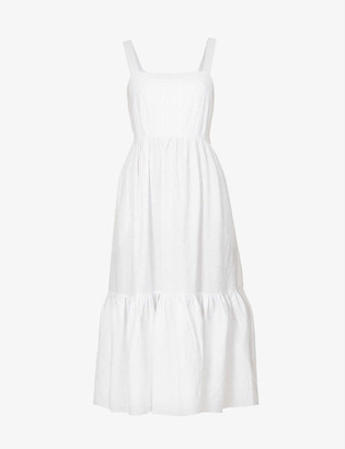 Jets Jetset square-neck linen-blend maxi dress