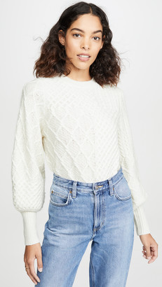 Frame Patchwork Cable Crew Sweater