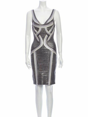 Herve Leger Striped Mini Dress Grey