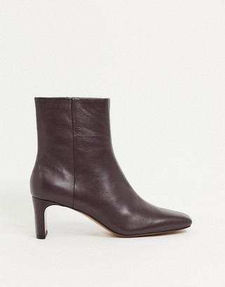 And other stories & leather square toe heeled boots in burgundy