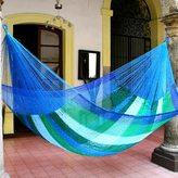 Novica Sea Breeze Handmade Blue/Green Striped Outdoor Pool Shade Knotted Rope Nylon Double Hammock (Mexico)