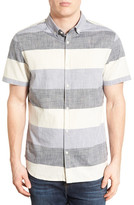 Jeremiah Cage Regular Fit Stripe Short Sleeve Chambray Sport Shirt