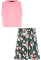 River Island Girls pink crop top tropical skirt outfit
